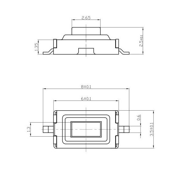 تک سوئیچ 3x6x2.5mm قرمز پکیج SMD