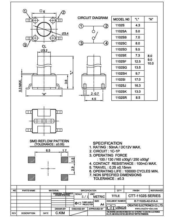 تک سوئیچ 6x6x7mm مشکی پکیج SMD